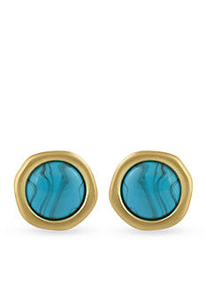 Karen Kane Gold-Tone California Current Turquoise Clip-On Earrings