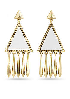 House of Harlow 1960 White Leather Del Sol Chandelier Earring