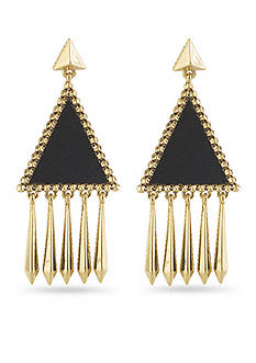 House of Harlow 1960 Black Leather Del Sol Chandelier Earring