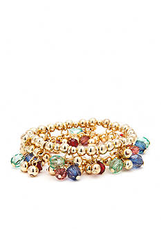 Chaps Gold-Tone Beaded Stretch Bracelet