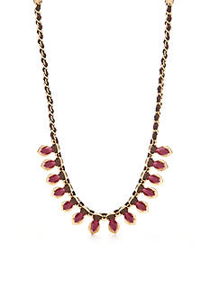 Chaps Gold-Tone Stone Frontal Necklace