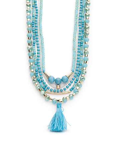 Chaps Gold-Tone Turquoise Multi Necklace Set