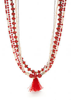 Chaps Gold-Tone Coral Multi Necklace Set
