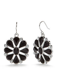 Chaps Silver-Tone Jet Flower Drop Earrings