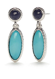 Chaps Silver-Tone with Turquoise and Blue Double Drop Earrings