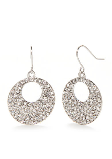 Chaps Silver-Tone Round Pave Drop Earrings