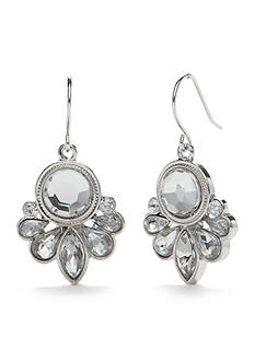 Chaps Silver-Tone Crystal Mini Chandelier Earrings