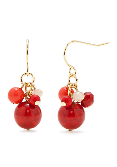 Chaps Gold-Tone Coral Cluster Drop Earrings