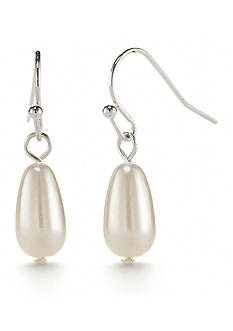Chaps Silver-Tone Grace Bay Teardrop Earrings