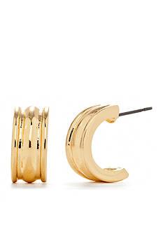 Chaps Mini Ribbed Half Hoop Earrings