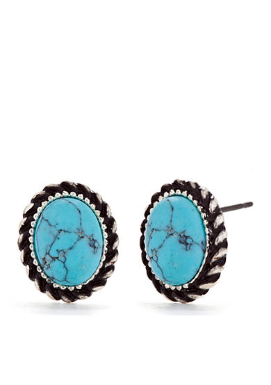 Chaps Silver-Tone Turquoise Stud Earrings