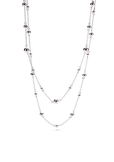 Chaps Silver-tone Multi Layer Beaded Necklace