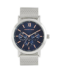 Geoffrey Beene Men's Silver-Tone Heavy Mesh Watch