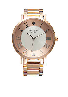 kate spade new york Women's Rose Gold-Tone Angled Roman Numeral Gramercy Grand Watch