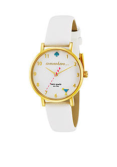 kate spade new york® Women's Gold-Tone Stainless Steel White Leather Novelty Metro Three-Hand Watch