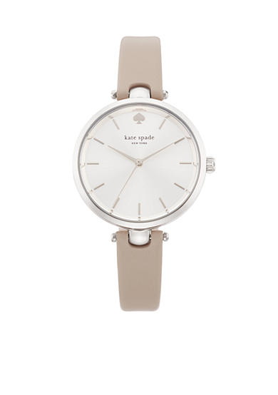 kate spade new york® Women's Stainless Steel Gray Leather Three-Hand Holland Watch
