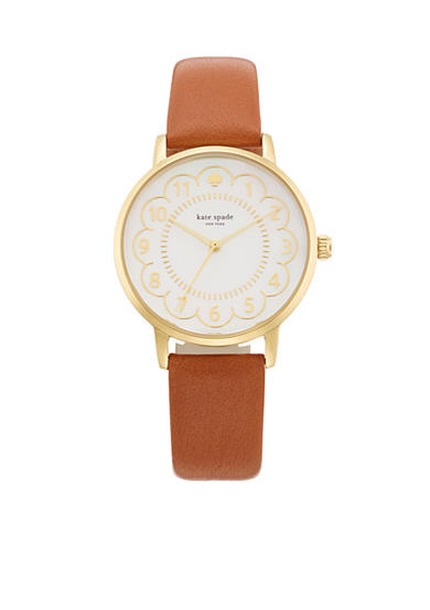 kate spade new york® Brown Leather Metro Three-Hand Watch