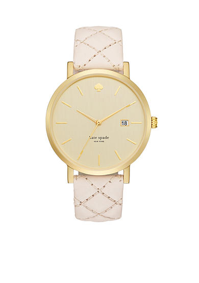 kate spade new york® Women's Metro Quilted Vachetta Leather Watch