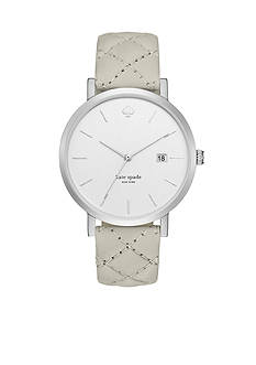 kate spade new york Women's Metro Quilted Gray Leather Watch