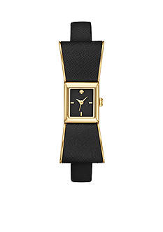 kate spade new york Women's Kenmare Black Leather 3-Hand Watch