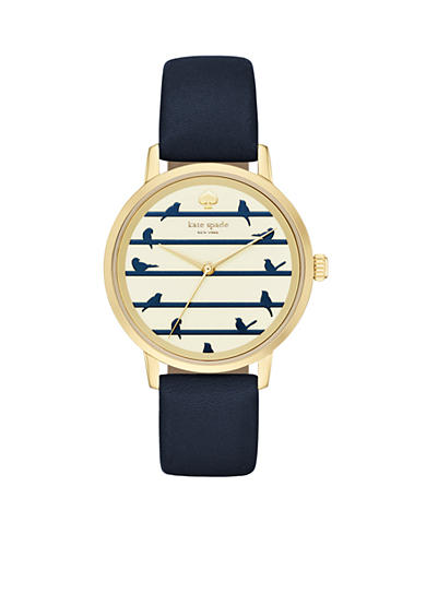kate spade new york® Metro Blue Leather Three-Hand Watch