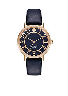 kate spade new york® Women's Metro Blue Leather Three Hand Watch