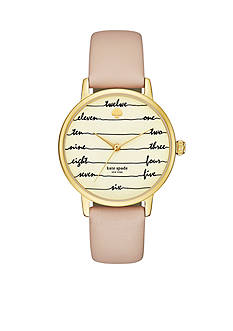kate spade new york® Metro Chalkboard Vachetta Leather Strap Three-Hand Watch