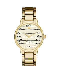 kate spade new york Women's Metro Chalkboard Gold-Tone Bracelet Three-Hand Watch