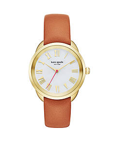 kate spade new york® Crosstown Brown Leather Strap Three-Hand Watch