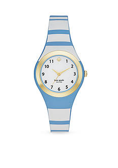 kate spade new york Women's Gold-Tone Rumsey Blue and White Striped Silicone Strap Three-Hand Watch
