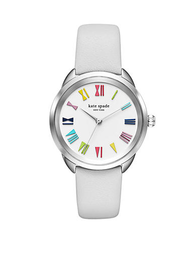 kate spade new york® Crosstown White Leather Strap Three-Hand Watch