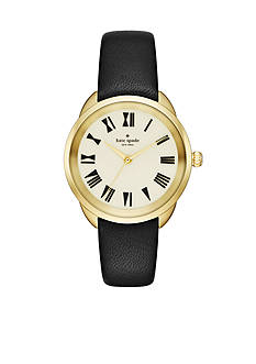 kate spade new york® Crosstown Black Leather Strap Three-Hand Watch