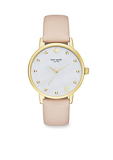 kate spade new york® Women's Gold-Tone Metro Monogrammed Pink Vachetta Leather Strap Watch