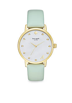 kate spade new york® Women's Gold-Tone Metro Monogrammed Mint Vachetta Leather Strap Watch