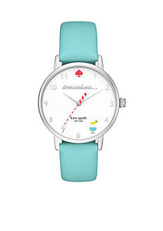 kate spade new york® Metro '5 o'clock Somewhere' Leather Three-Hand Watch