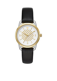 kate spade new york Women's Black Leather And Two-Tone Boathouse Watch