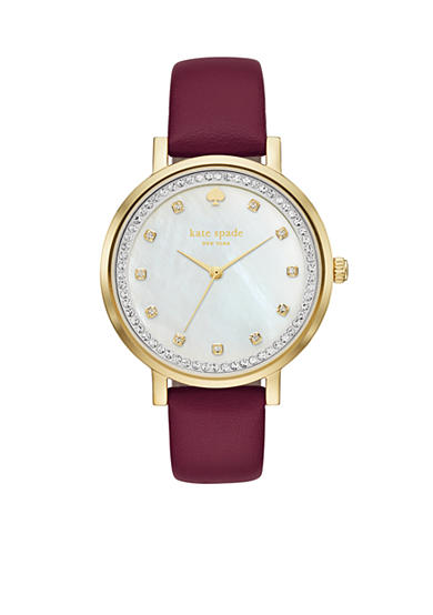 kate spade new york® Women's Purple Leather And Gold-Tone Monterey Watch