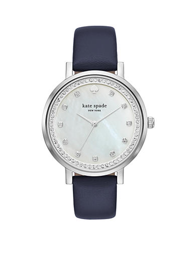 kate spade new york® Women's Blue Leather And Silver-Tone Monterey Watch
