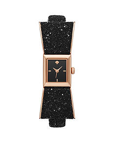 kate spade new york Women's Black Leather And Rose Gold-Tone Kenmare Strap Watch