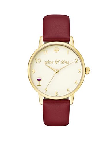 kate spade new york® Women's Merlot Leather Metro Watch