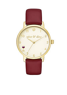 kate spade new york Women's Merlot Leather Metro Watch
