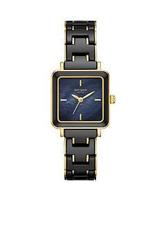 kate spade new york Women's Gold-Tone Washington Square Black Ceramic Watch