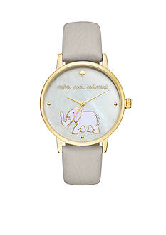 kate spade new york Women's Gray Leather And Gold-Tone Metro Watch