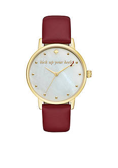 kate spade new york Women's Red Leather And Gold-Tone Metro Watch
