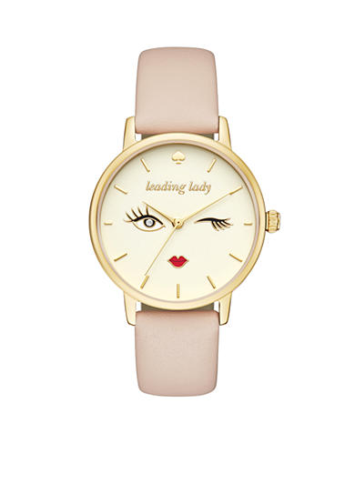 kate spade new york® Women's Pink Vachetta Leather And Gold-Tone Metro Watch