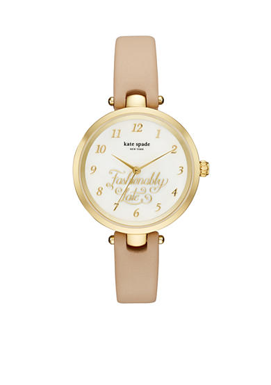 kate spade new york® Women's Gold-Tone Holland Vachetta Leather Watch