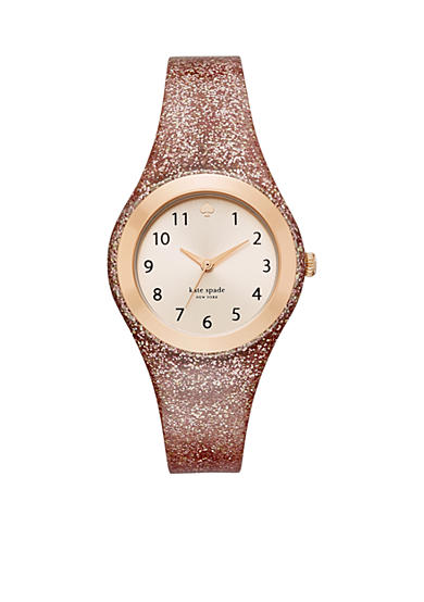 kate spade new york® Women's Rose Gold-Tone Rumsey Pink Silicone Watch