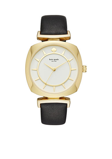 kate spade new york® Women's Gold-Tone Barrow Black Leather Watch