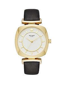 kate spade new york Women's Gold-Tone Barrow Black Leather Watch