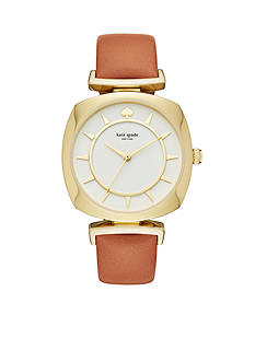 kate spade new york Women's Gold-Tone Barrow Luggage Leather Watch